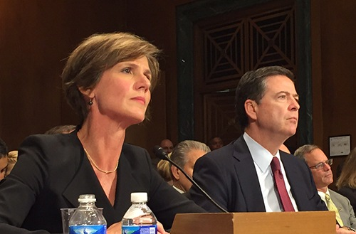 Deputy Attorney General Sally Quillian Yates and Director James Comey testify on the Going Dark issue before the Senate Judiciary Committee on July 8, 2015.