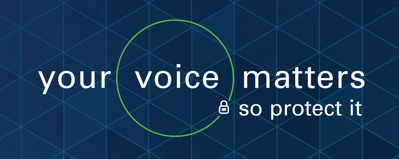 Logo of Protected Voices initiative: Your voice matters, so protect it.