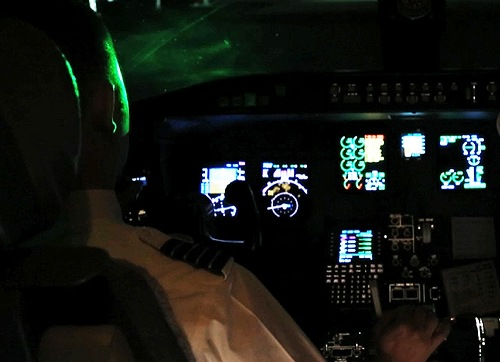 Laser in airplane cockpit
