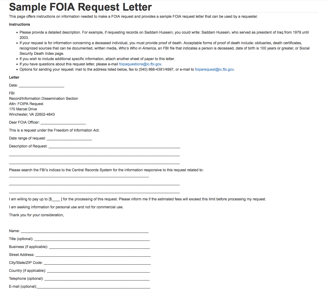Sample Foia Request Letter  Fbi