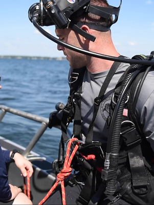 Underwater Post-Blast: Student on Boat
