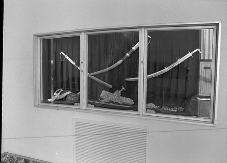 Display case in the library lobby before the theft