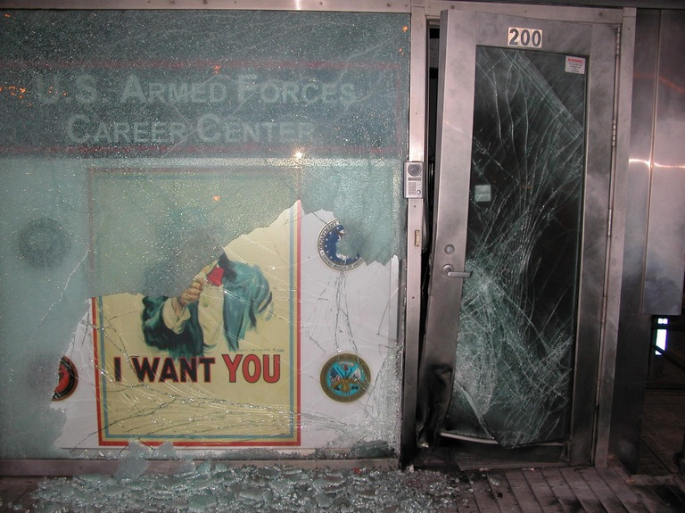 Post-Blast Photograph of United States Armed Forces Recruiting Center in Times Square