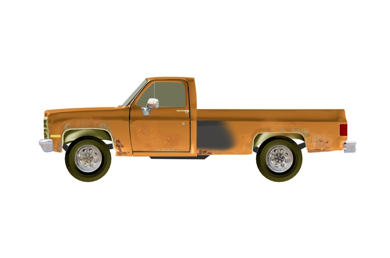 1973-1987 Chevrolet or GMC Pickup Truck, Single Cab, Long Bed, Orange-type color in poor condition, with rust