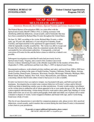 Richard Evonitz (Offender - Deceased) Spotsylvania County, VA