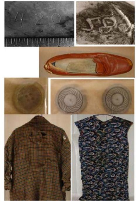 Top: Imprints on dentures and shoe found